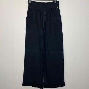 Sonia Rykiel Black Sweater Knit Wide Leg Trouser
